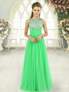 Beautiful Sleeveless Beading Floor Length Prom Evening Gown