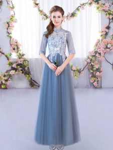 Gorgeous Half Sleeves Floor Length Lace Lace Up Bridesmaids Dress with Blue
