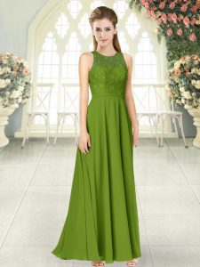 Wonderful Olive Green Empire Lace Prom Evening Gown Backless Chiffon Sleeveless Floor Length