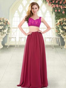 Wine Red Chiffon Zipper Prom Dresses Sleeveless Floor Length Beading and Lace