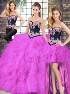 Low Price Fuchsia Sleeveless Beading and Embroidery Floor Length Ball Gown Prom Dress