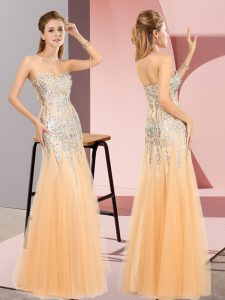 Unique Orange Sweetheart Neckline Beading Sleeveless Zipper