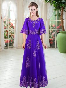 Great Purple Tulle Lace Up Scoop Half Sleeves Floor Length Prom Dresses Lace