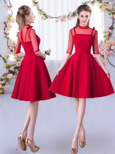 Hot Sale Knee Length Red Court Dresses for Sweet 16 Satin Half Sleeves Ruching