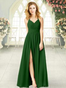 Free and Easy Sleeveless Chiffon Floor Length Zipper Prom Gown in Green with Ruching