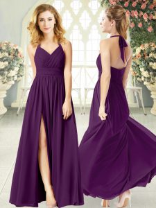 Purple Backless Ruching Sleeveless Floor Length