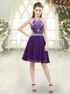Sleeveless Knee Length Beading Zipper Prom Evening Gown with Eggplant Purple