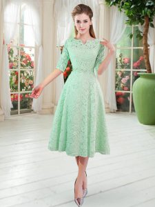 Hot Sale Half Sleeves Lace Tea Length Zipper Prom Dress in Apple Green with Beading