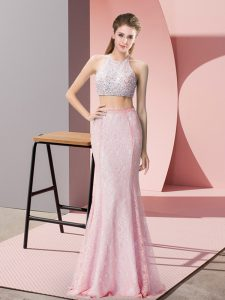 Sleeveless Beading Backless Prom Gown