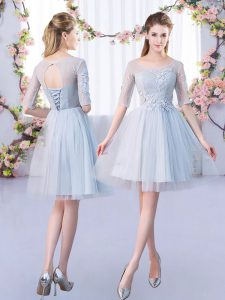 Shining Scoop Half Sleeves Court Dresses for Sweet 16 Mini Length Lace Grey Tulle