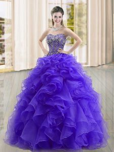 Sleeveless Floor Length Beading and Ruffles Lace Up Ball Gown Prom Dress with Purple