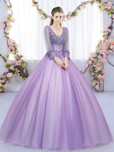 V-neck Long Sleeves Sweet 16 Dress Floor Length Lace and Appliques Lavender Tulle