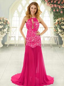 Hot Pink Mermaid Lace Prom Gown Backless Chiffon Sleeveless