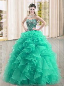 Floor Length Turquoise Quinceanera Dress Organza Sleeveless Beading and Ruffles