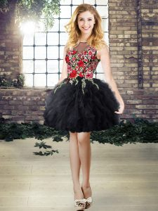 Customized Black Scoop Lace Up Embroidery and Ruffles Prom Evening Gown Sleeveless
