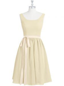 A-line Prom Party Dress Light Yellow Scoop Chiffon Sleeveless Mini Length Zipper