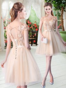 Champagne Short Sleeves Appliques Mini Length Prom Evening Gown