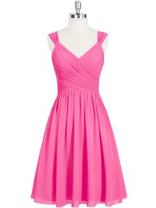 Top Selling Mini Length Pink Prom Dresses Straps Sleeveless Zipper