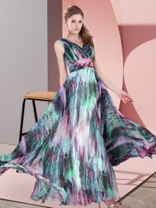 Captivating Multi-color Sleeveless Pattern Floor Length Prom Evening Gown