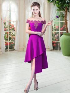 Purple Sleeveless Satin Zipper Prom Gown for Prom and Party