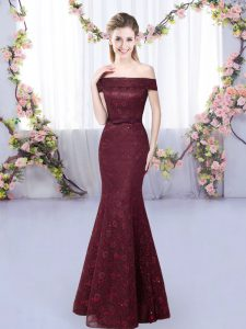 Mermaid Quinceanera Court of Honor Dress Burgundy Off The Shoulder Sleeveless Floor Length Lace Up