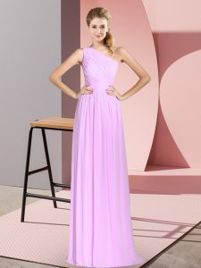 Stylish Lilac Empire One Shoulder Sleeveless Chiffon Floor Length Lace Up Ruching Prom Gown