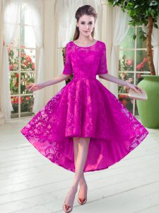Sophisticated Fuchsia Dress for Prom Prom and Party with Lace Scoop Half Sleeves Zipper