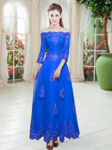 Free and Easy Off The Shoulder 3 4 Length Sleeve Lace Up Prom Evening Gown Royal Blue Tulle