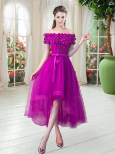 Fuchsia Lace Up Off The Shoulder Appliques Prom Dresses Tulle Short Sleeves
