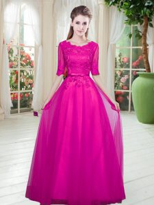 Spectacular Fuchsia Tulle Lace Up Scoop Half Sleeves Floor Length Homecoming Dress Lace