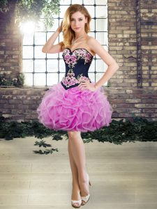 Pretty Sleeveless Mini Length Embroidery and Ruffles Lace Up Homecoming Dress with Lilac