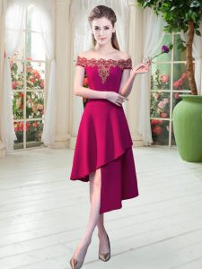 A-line Prom Dress Wine Red Off The Shoulder Satin Sleeveless Asymmetrical Zipper
