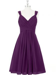 Eye-catching Straps Sleeveless Prom Gown Mini Length Ruching Purple Chiffon