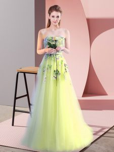 Discount Tulle Sweetheart Sleeveless Lace Up Appliques in Yellow Green