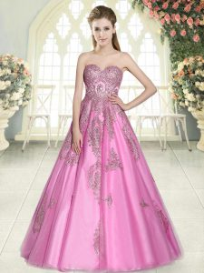 Rose Pink A-line Tulle Sweetheart Sleeveless Appliques Floor Length Lace Up Prom Gown
