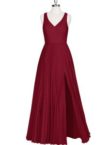 Wine Red Sleeveless Floor Length Pleated Zipper Evening Dress