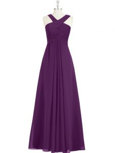 Ruching Homecoming Dress Eggplant Purple Zipper Sleeveless Floor Length