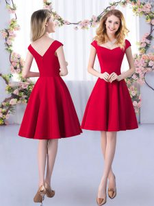 Knee Length A-line Cap Sleeves Red Dama Dress for Quinceanera Zipper