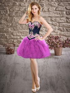 Traditional Purple Sleeveless Embroidery Mini Length Prom Dress