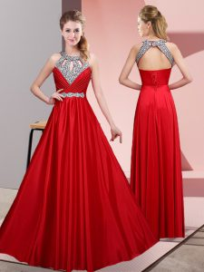 Sleeveless Floor Length Beading Lace Up with Red
