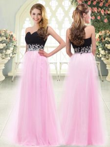 Stunning Floor Length Rose Pink Prom Gown Sweetheart Sleeveless Zipper