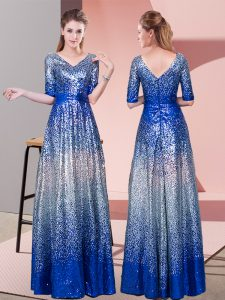 Sequined Half Sleeves Floor Length Prom Gown and Ruching