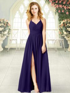 Chic Chiffon Sleeveless Floor Length Prom Party Dress and Ruching