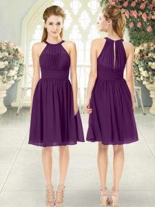 Sleeveless Chiffon Knee Length Zipper Prom Party Dress in Purple with Ruching