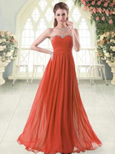 Chiffon Sweetheart Sleeveless Zipper Beading Prom Gown in Rust Red