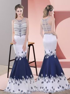 Captivating Blue And White Sleeveless Floor Length Embroidery Zipper Prom Dresses