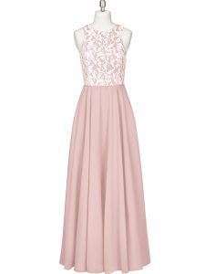 Admirable Pink Chiffon Zipper Homecoming Dress Sleeveless Floor Length Lace and Appliques
