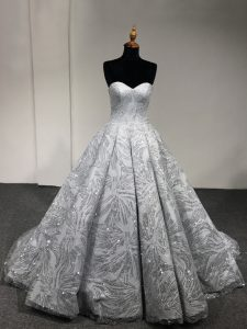 Silver Sleeveless Sequins Floor Length 15 Quinceanera Dress