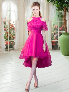 Hot Pink A-line High-neck Short Sleeves Tulle High Low Zipper Lace Prom Dresses
