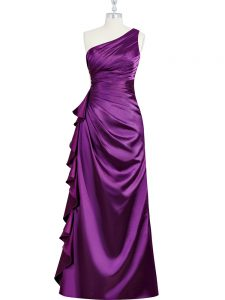 Beauteous One Shoulder Sleeveless Side Zipper Prom Gown Purple Elastic Woven Satin